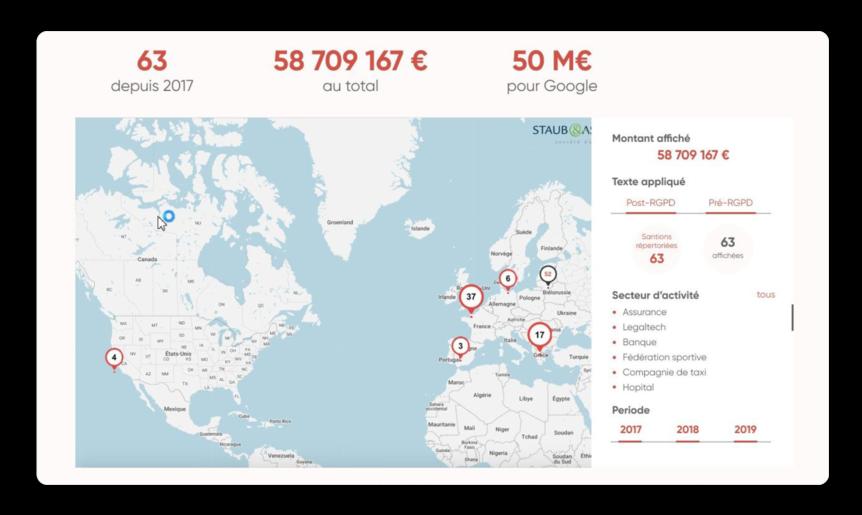Découvrez la carte interactive des sanctions RGPD dans le monde