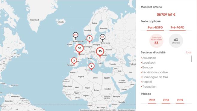 Cartes des sanctions pré et post-RGPD dans le monde