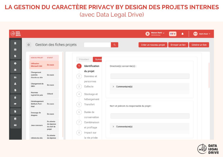 Gestion du caractère Privacy by Design des projets internes