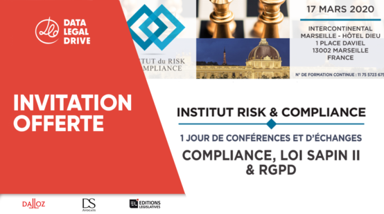 DATA LEGAL DRIVE vous invite au congrès de l'Institut Risk & Compliance - mars 2020