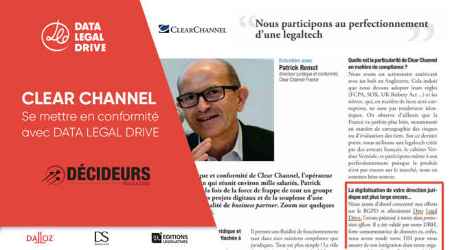 Clear Channel témoigne de sa mise en conformité avec DATA LEGAL DRIVE
